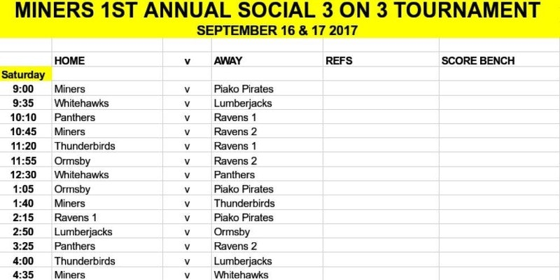 Waihi 3 On 3 Social Tournament Draw: 16-17 September 2017